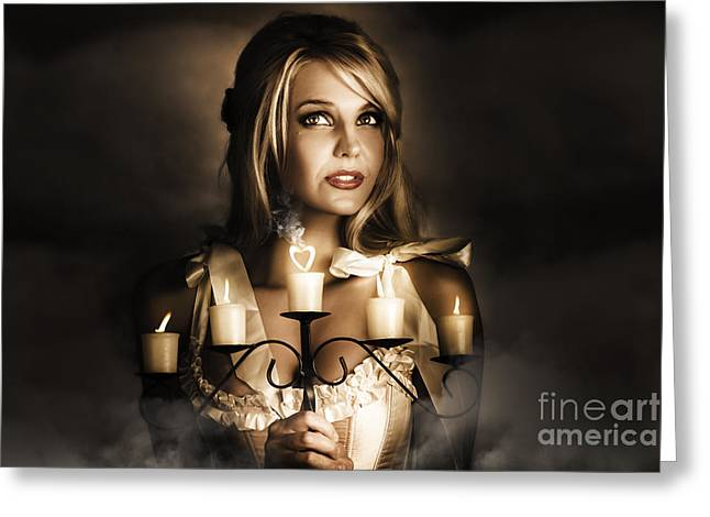 Romantic Blonde Woman Holding The Light Of Love Greeting Card by Jorgo Photography - Wall Art Gallery