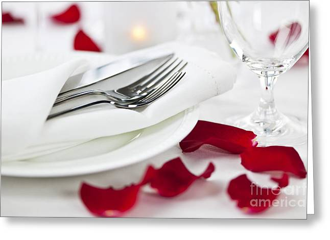 Romantic Dinner Setting With Rose Petals Greeting Card