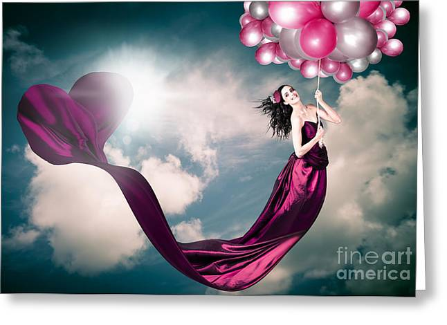 Romantic Girl In Love With Beauty And Fashion Greeting Card by Jorgo Photography - Wall Art Gallery
