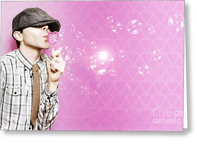 Romantic Little Cupid Boy Giving Bubble Kisses Greeting Card by Jorgo Photography - Wall Art Gallery