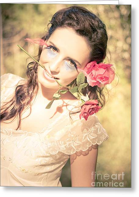 Romantic Rose Woman Greeting Card by Jorgo Photography - Wall Art Gallery