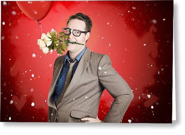 Romantic Valentine Man Holding Flowers On Date Greeting Card by Jorgo Photography - Wall Art Gallery
