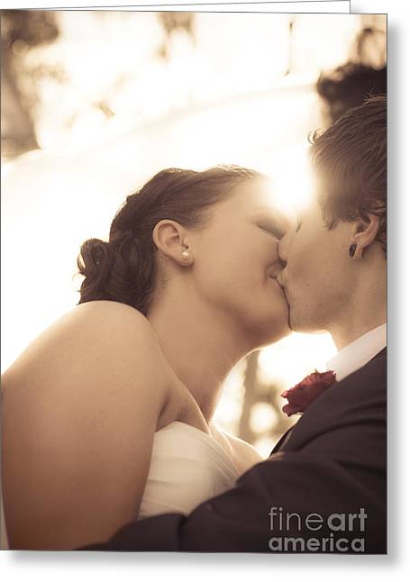 Romantic Wedding Kiss Greeting Card by Jorgo Photography - Wall Art Gallery