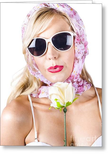 Romantic Woman With Flower Greeting Card by Jorgo Photography - Wall Art Gallery