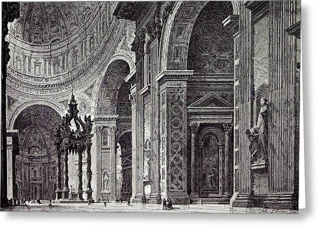 Rome Italy 1875 Interior  Of St Greeting Card