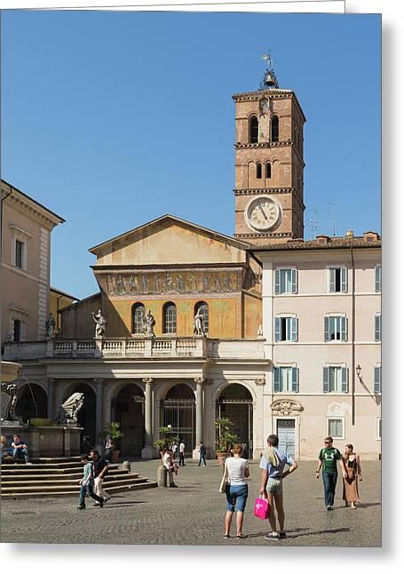 Rome, Italy. Santa Maria In Trastevere Greeting Card by Ken Welsh