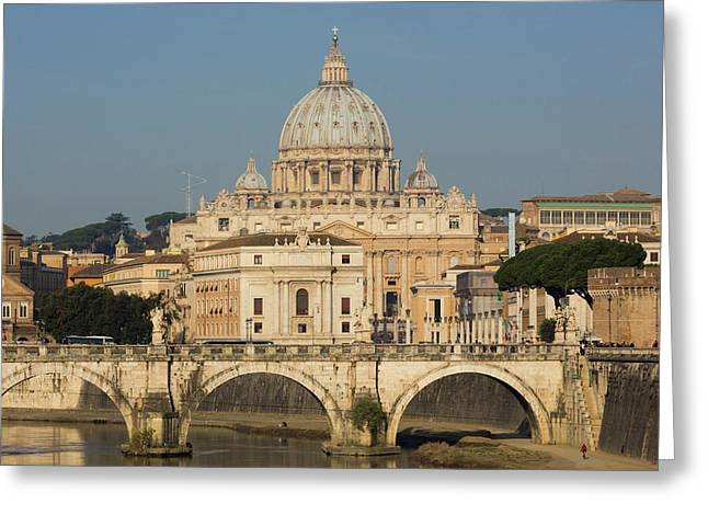 Rome, Italy. St Peters Basilica. Tiber Greeting Card