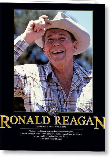 Ronald Reagan Greeting Card by Retro Images Archive
