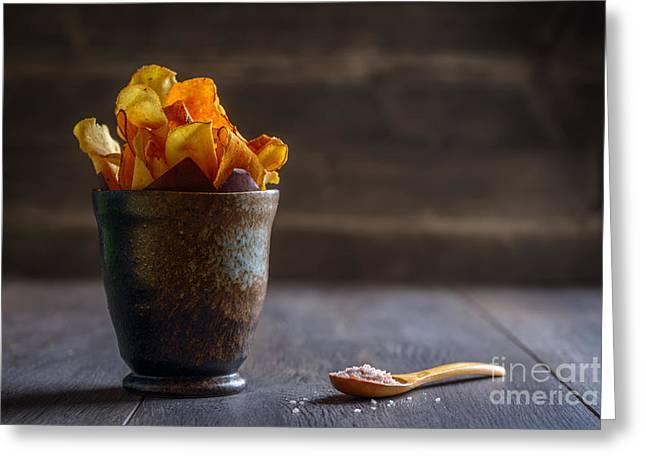 Root Vegetable Crisps Greeting Card by Amanda Elwell