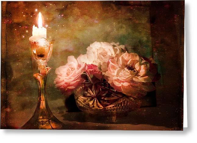 Roses By Candlelight Greeting Card by Theresa Tahara