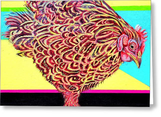 Rosie The Chicken Greeting Card by Christine Belt