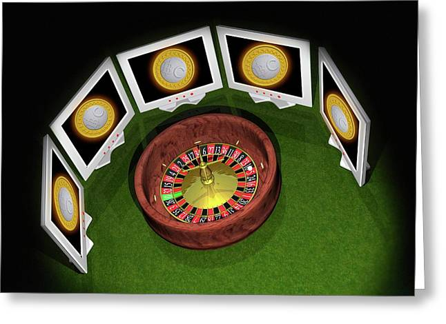 Roulette Wheel And Bitcoins Greeting Card by Victor Habbick Visions