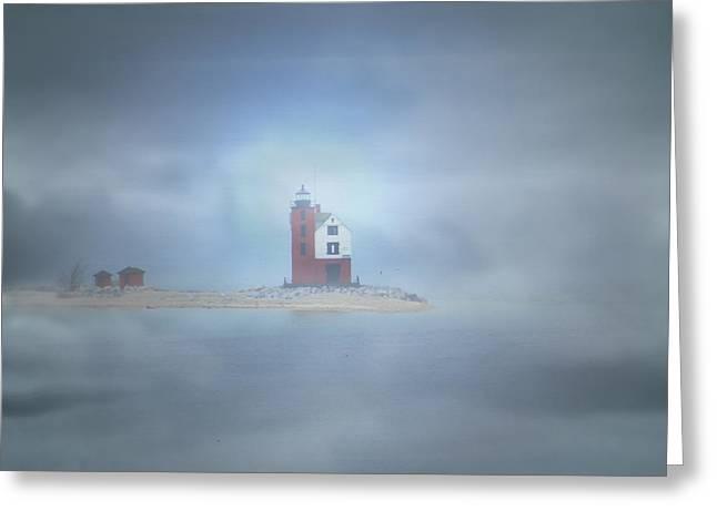 Round Island Lighthouse  Greeting Card by Scott Hovind