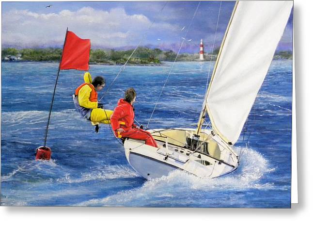 Rounding The Mark Greeting Card by Richard Barone