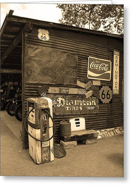 Route 66 Garage And Pump Greeting Card by Frank Romeo