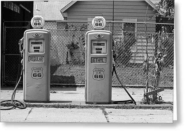 Route 66 - Illinois Gas Pumps Greeting Card