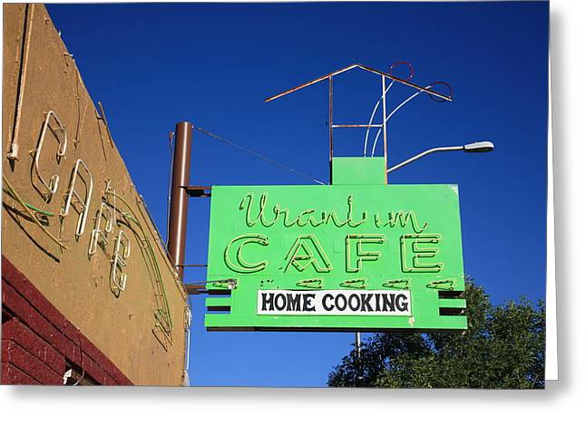 Route 66 - Uranium Cafe Greeting Card by Frank Romeo