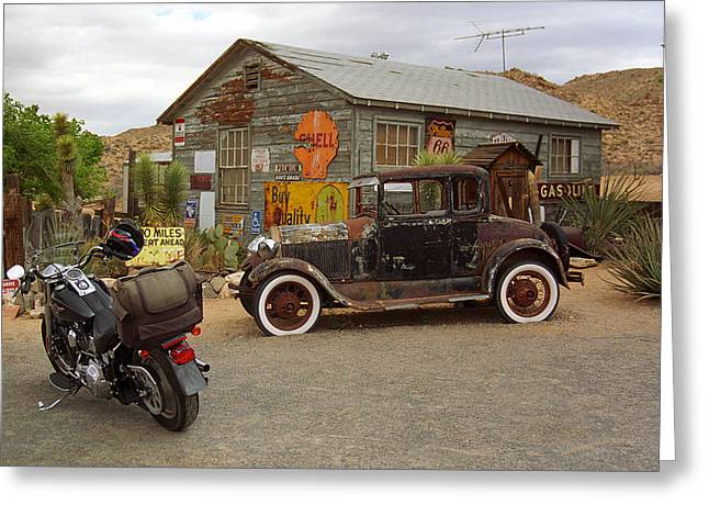 Route 66 Vintage Auto And Shed Greeting Card by Frank Romeo