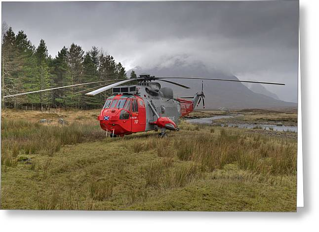 Royal Navy Sar Sea King Xz920 Glencoe Greeting Card by Gary Eason