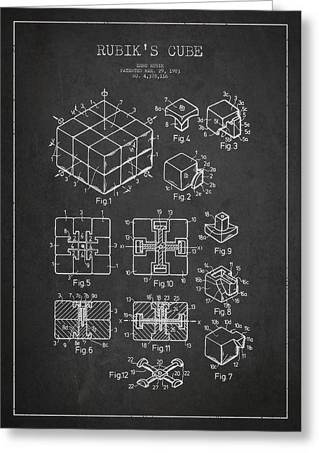 Rubiks Cube Patent Greeting Card by Aged Pixel