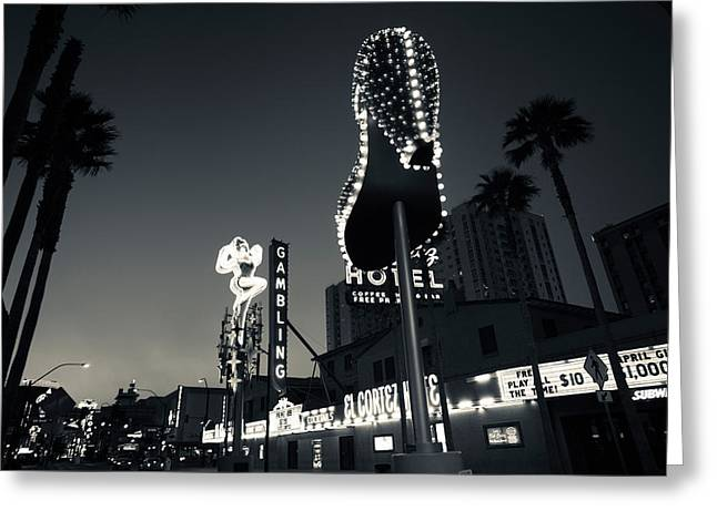 Ruby Slipper Neon Sign Lit Up At Dusk Greeting Card