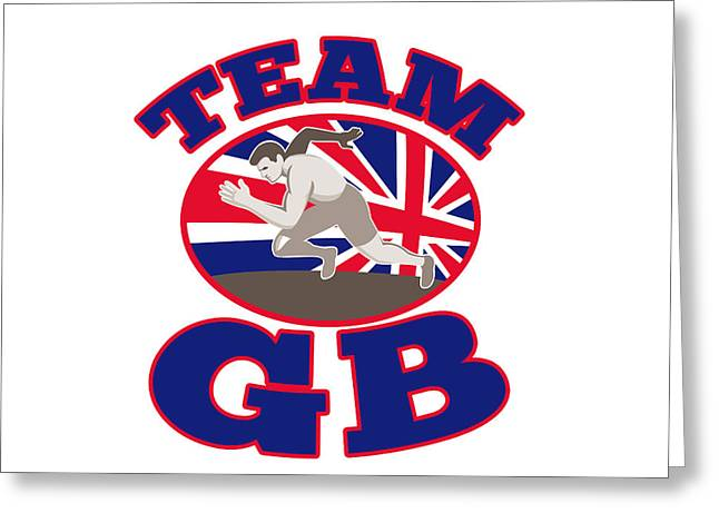 Runner Track And Field Athlete British Flag Greeting Card