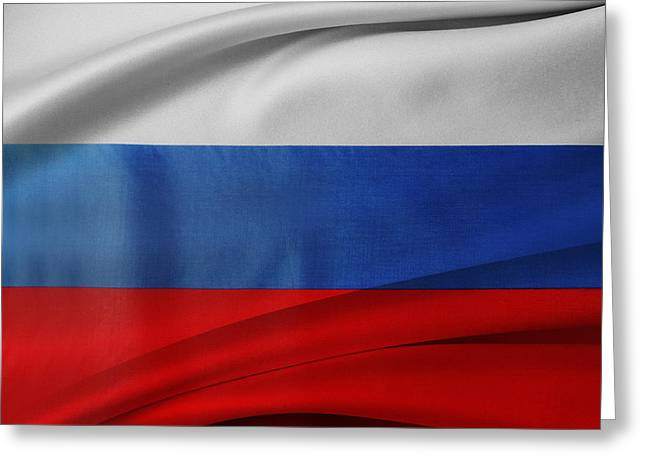 Russian Flag Greeting Card by Les Cunliffe