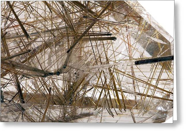 Rutilated Quartz Greeting Card by Science Photo Library