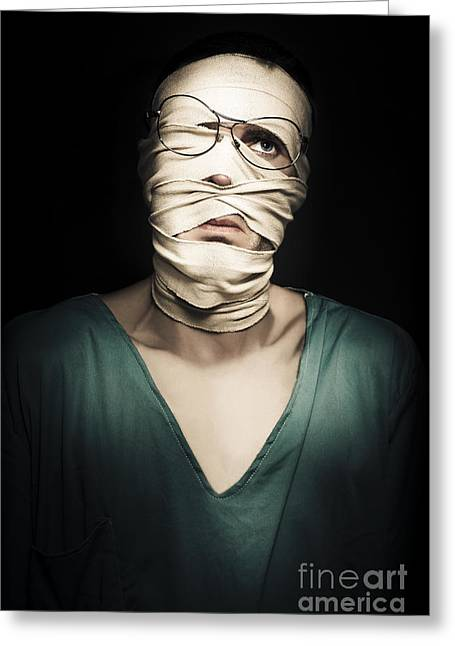 Sad Sorry Accident Victim Over Black Background Greeting Card by Jorgo Photography - Wall Art Gallery