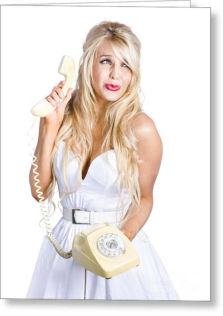 Sad Woman With Telephone Greeting Card by Jorgo Photography - Wall Art Gallery