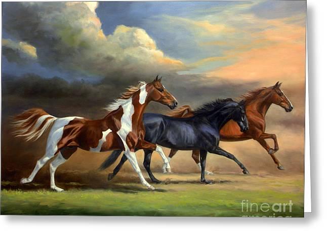 Saddlebreds Three Greeting Card by Jeanne Newton Schoborg