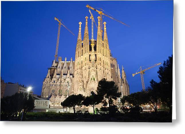 Sagrada Familia In Barcelona At Night Greeting Card by Artur Bogacki