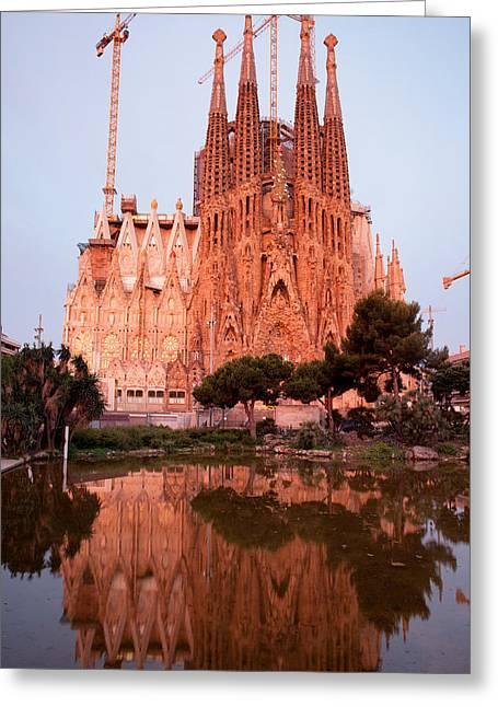 Sagrada Familia In Barcelona At Sunrise Greeting Card by Artur Bogacki