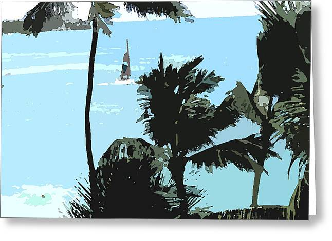 Greeting Card featuring the digital art Sailboat And Luscious Palms by Karen Nicholson