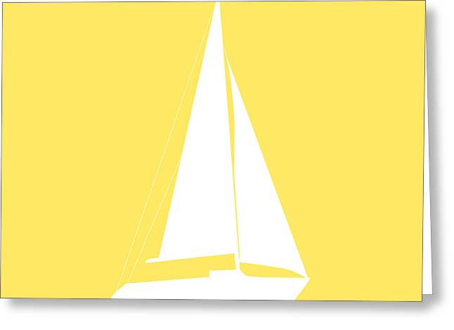 Sailboat In Yellow And White Greeting Card