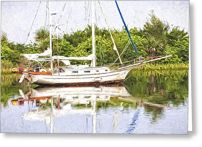 Sailboat Reflections Greeting Card by Alice Gipson