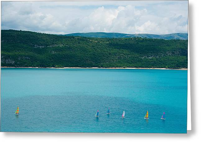 Sailboats On The Lake, Lac De Sainte Greeting Card by Panoramic Images
