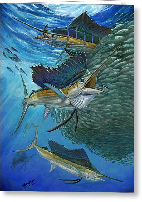 Sailfish With A Ball Of Bait Greeting Card