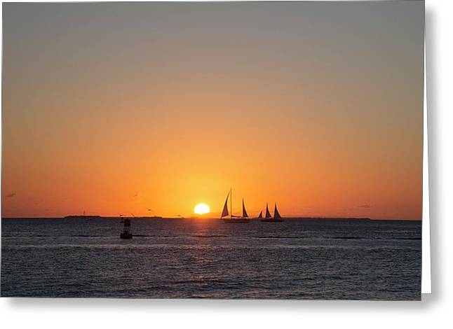 Sailing Boats At Sunset Greeting Card by Jim West