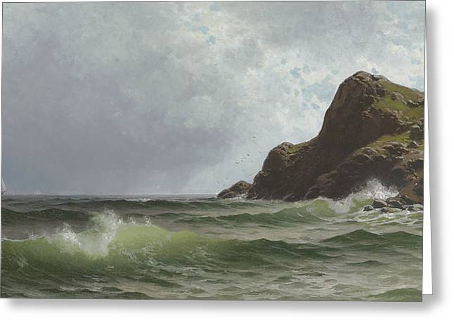 Sailing Off The Coast Greeting Card by Alfred Thompson Bricher