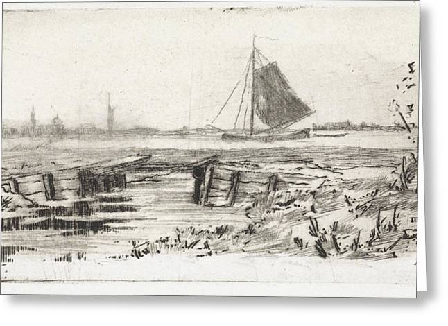 Sailing Ship On A River, Elias Stark Greeting Card