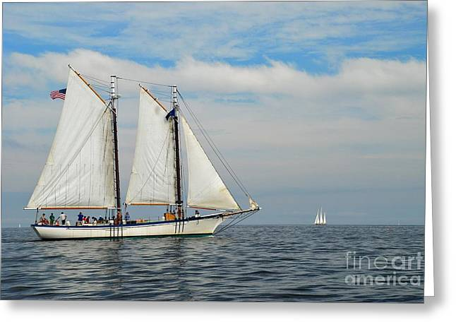 Sailing The Open Seas Greeting Card by Allen Beatty