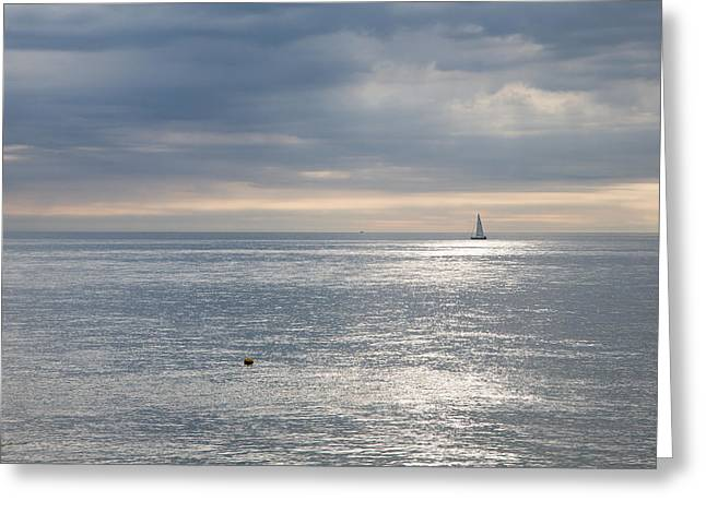 Greeting Card featuring the photograph Sailing The Silver Sea. by Ian Middleton