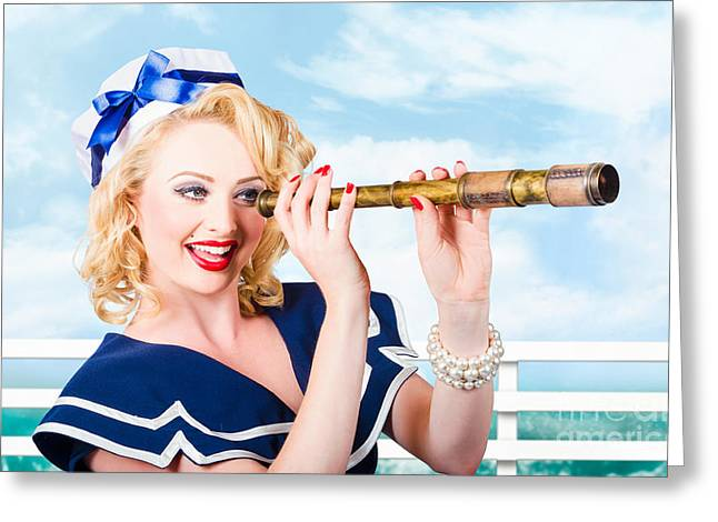 Sailor Girl Pin-up Looking Through Telescope Greeting Card by Jorgo Photography - Wall Art Gallery