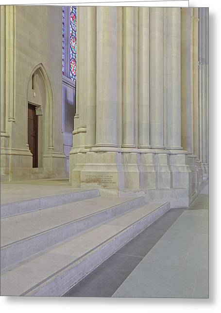 Saint John The Divine Cathedral Columns Greeting Card by Susan Candelario