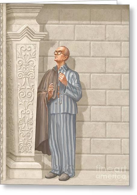 Saint Maximilian Kolbe Greeting Card by John Alan  Warford