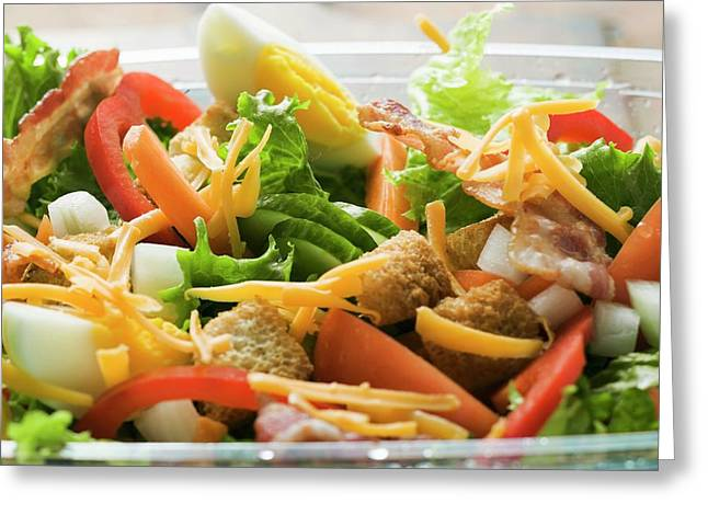 Salad Leaves With Vegetables, Egg, Cheese And Bacon To Take Away Greeting Card