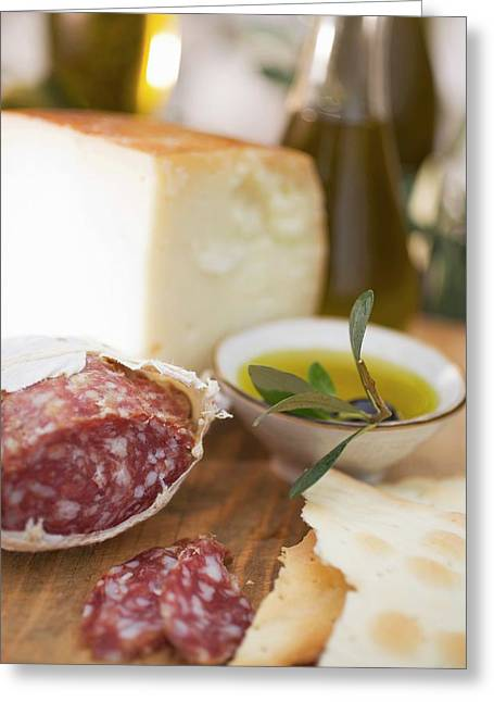 Salami, Crackers, Olives, Olive Oil And Parmesan Greeting Card