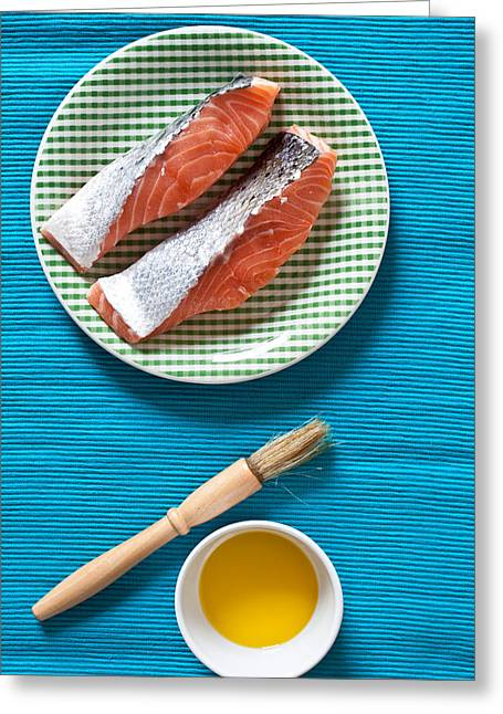 Salmon Fillets Greeting Card by Tom Gowanlock
