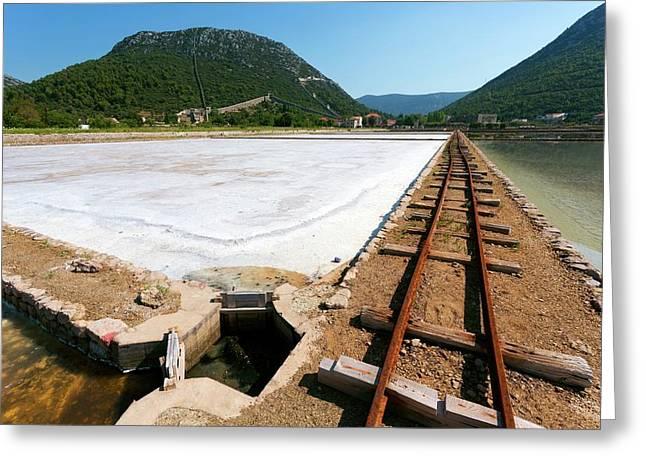 Salt Evaporation Ponds Greeting Card by Dr Juerg Alean